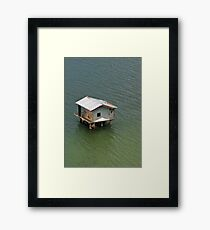 Fishing shack, Takengon, Aceh, Indonesia Framed Print