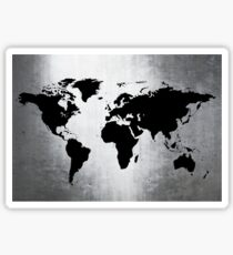 World Map Metal Sticker