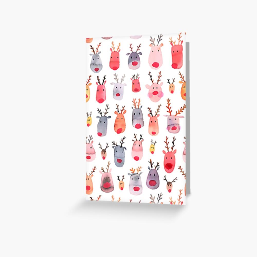 Reindeers - Animal cuteness - Winter watercolor pattern - Rudolph Greeting Card