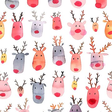 Reindeers - Animal cuteness - Winter watercolor pattern - Rudolph by ninoladesign
