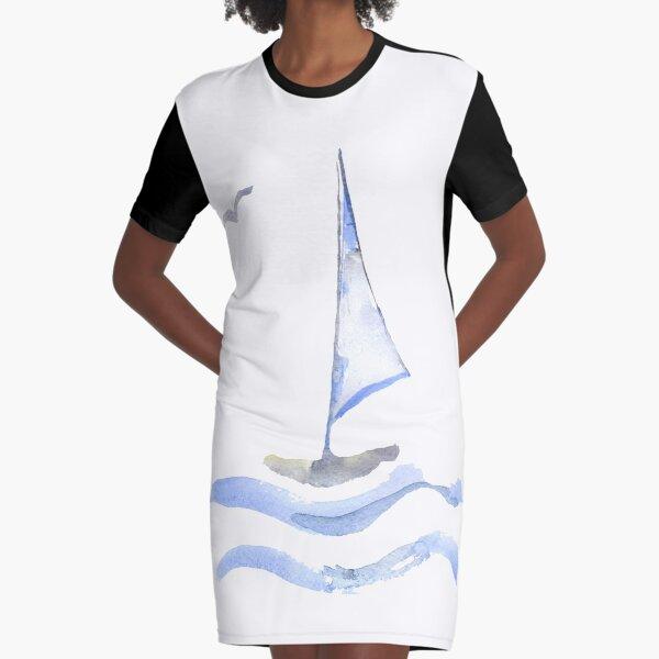 watercolor sailboat Graphic T-Shirt Dress