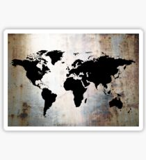 World Map Rusted Metal  Sticker