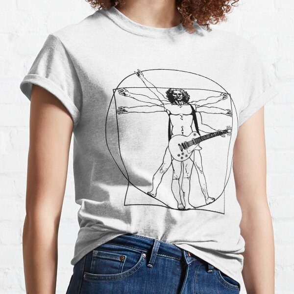 Vitruvian man - Les Paul guitar  (black version) Classic T-Shirt
