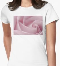 Soft Pink Rose Macro  Womens Fitted T-Shirt