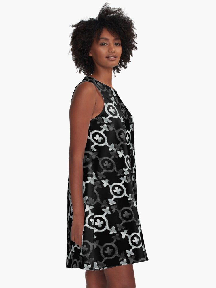 Alternate view of monochrome geometric pattern A-Line Dress