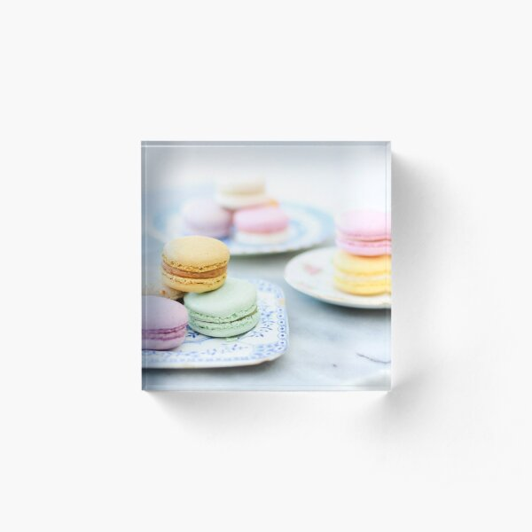 Pretty Pastel Macarons on Vintage Plate 2 Acrylic Block