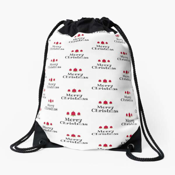 Merry Christmas with Red & Green Bells Drawstring Bag