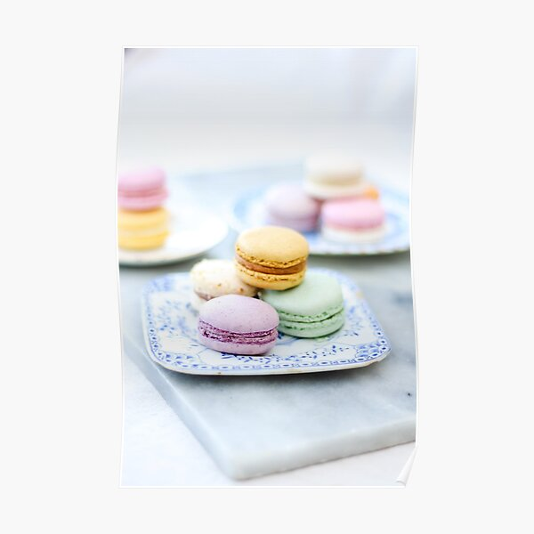 Pretty Pastel Macarons on Vintage Plate 1 Poster
