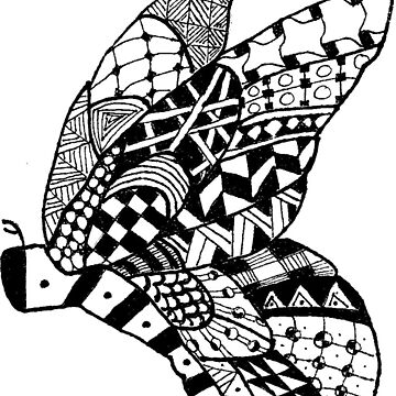 Patterned butterfly (black on white). by r-l-designs