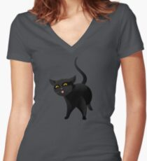 Black cat Women's Fitted V-Neck T-Shirt