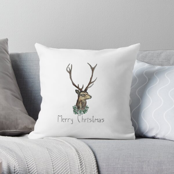 Festive Stag- Greeting Throw Pillow