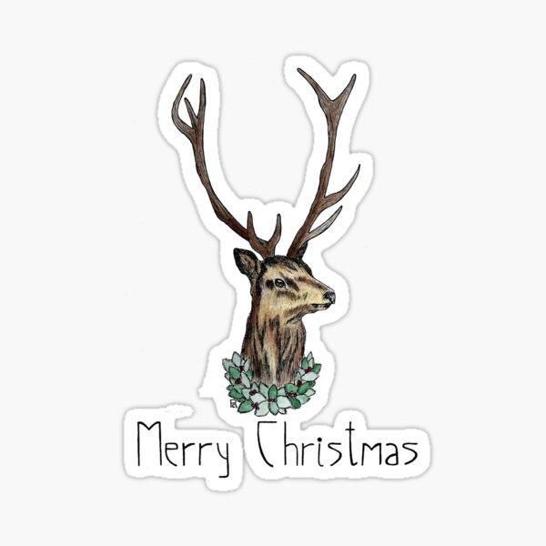 Festive Stag- Greeting Sticker