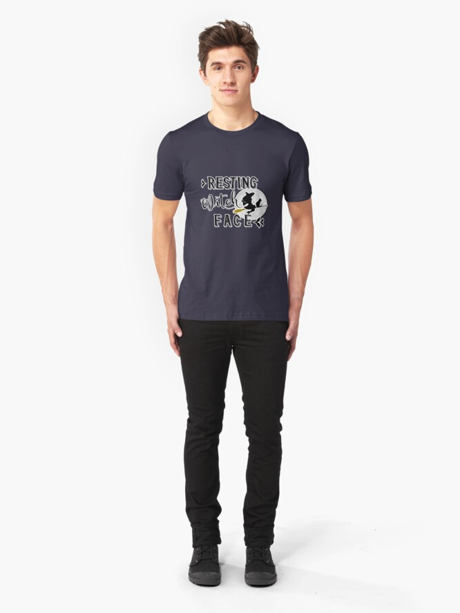 Alternate view of resting witch face Slim Fit T-Shirt