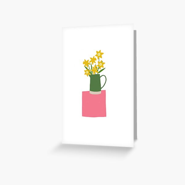 Daffodils on pink table Greeting Card