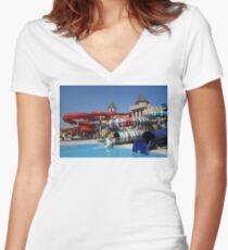 Water slide in Sunny Beach Aqua park, Bulgaria Women's Fitted V-Neck T-Shirt