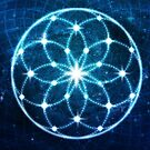 Blue Cosmic Geometric Flower Mandala by jitterfly