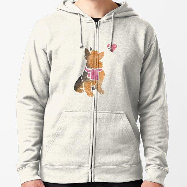 Watercolour Australian Terrier Zipped Hoodie