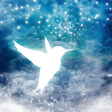 Magical, Cosmic, Whimsical Spirit Hummingbird Drinking Stars by jitterfly