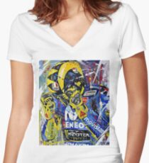 Art Rossi Watercolor Women's Fitted V-Neck T-Shirt