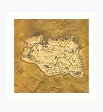 Skyrim Worn Parchment Map Art Print