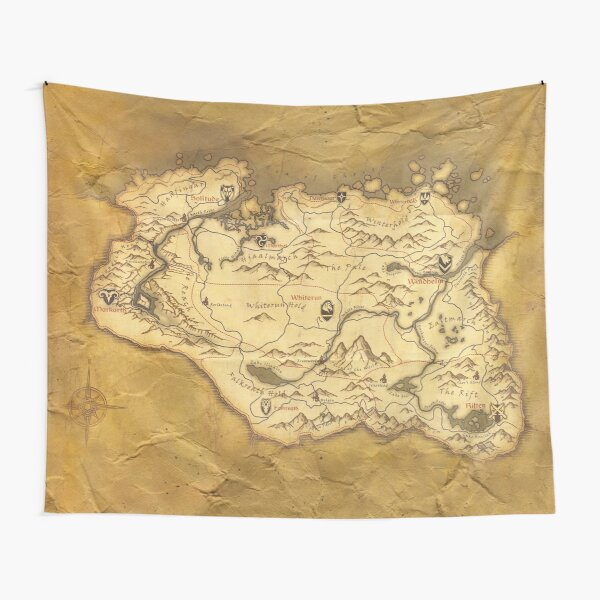 Skyrim Worn Parchment Map Tapestry