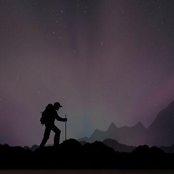 Hiking Man At Night by TheKitch
