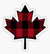 Maple Leaf in Plaid Sticker