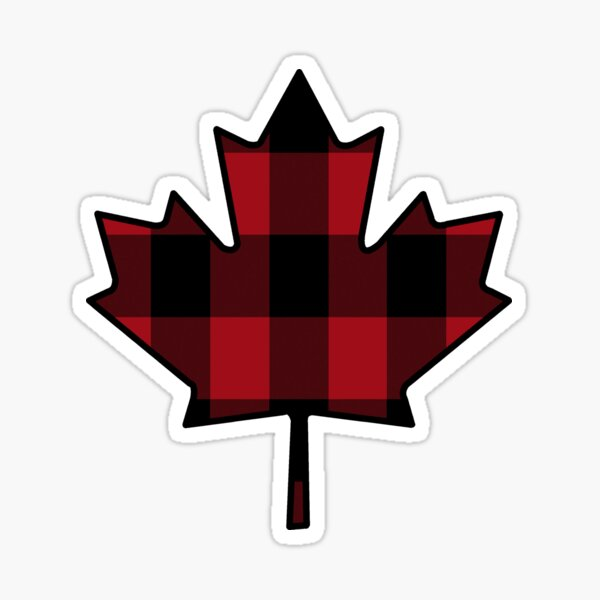 Maple Leaf in Plaid Sticker