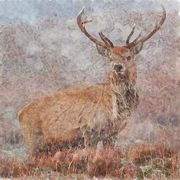 Majestic Stag Watercolor by taiche