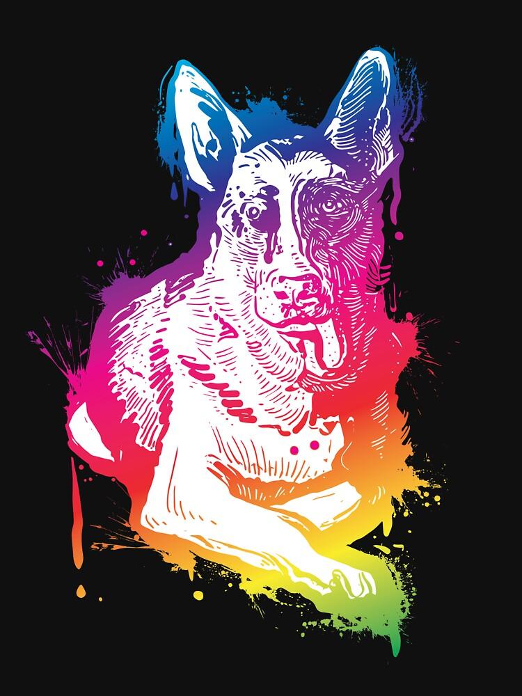 'Splash Art German shepherd' German Shepherd Dog  by leyogi