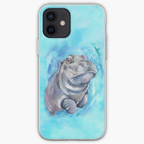 Hippo Baby watercolor art from George Dyachenko  iPhone Soft Case