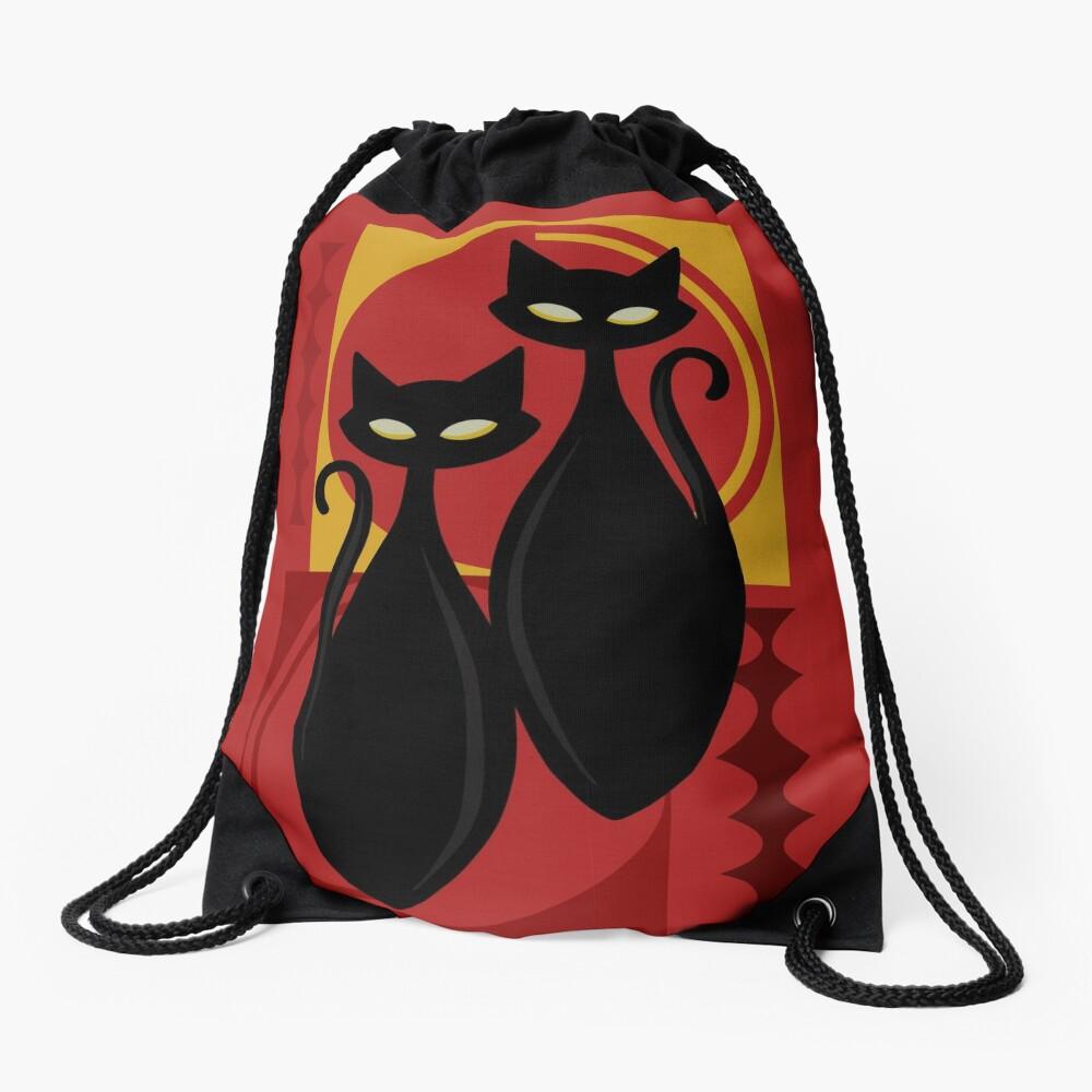 Devilishly Delightful Atomic Age Black Kitschy Cats Drawstring Bag
