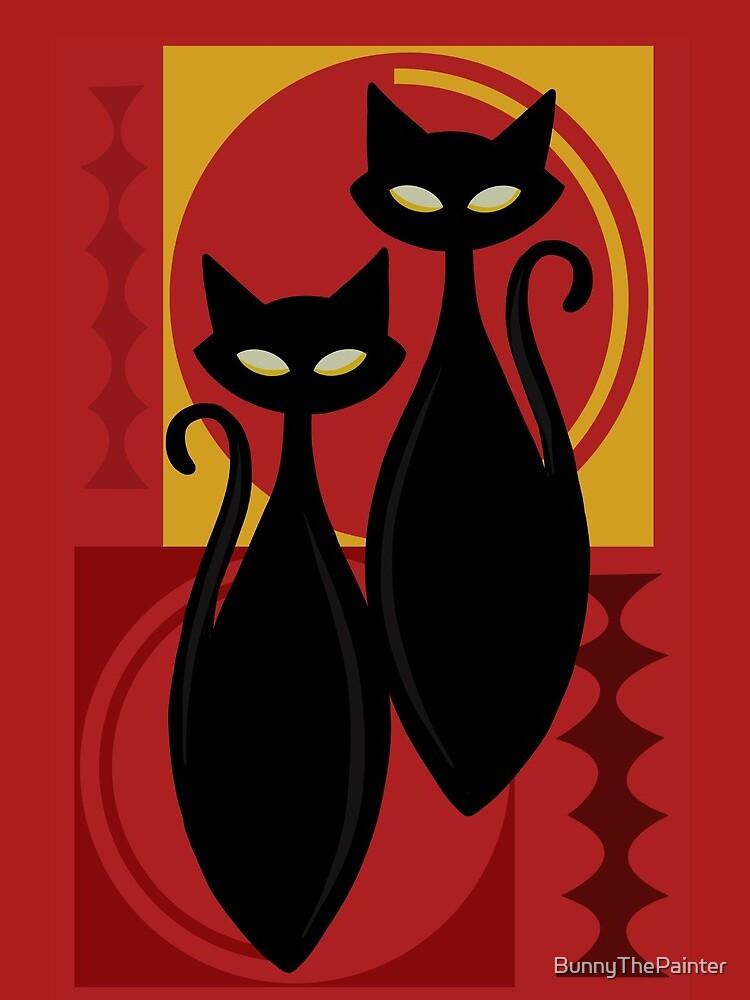 Devilishly Delightful Atomic Age Black Kitschy Cats by BunnyThePainter