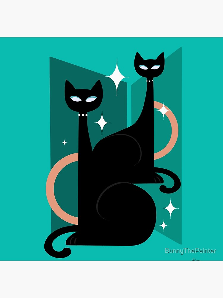 Fashionable Felines Atomic Age Black Kitschy Cats by BunnyThePainter