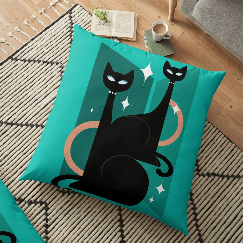 Fashionable Felines Atomic Age Black Kitschy Cats Floor Pillow