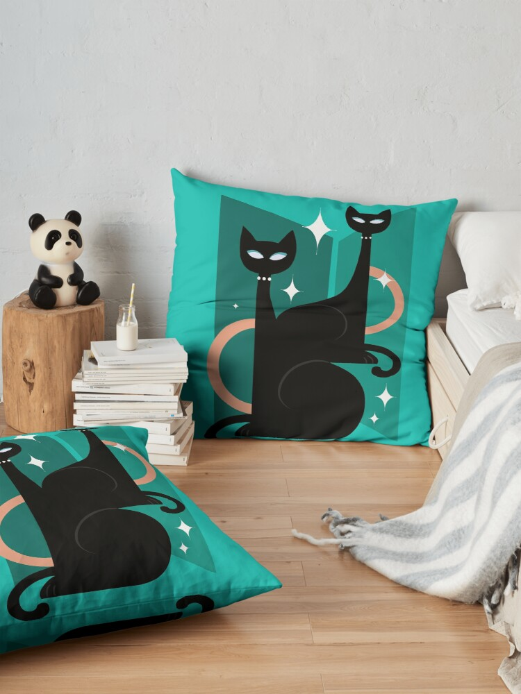 Alternate view of Fashionable Felines Atomic Age Black Kitschy Cats Floor Pillow