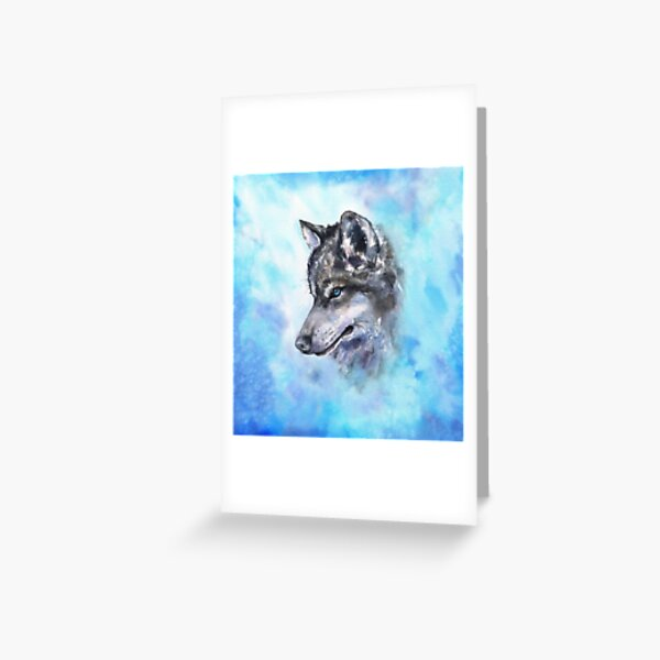 Wolf watercolor art from George Dyachenko  Greeting Card