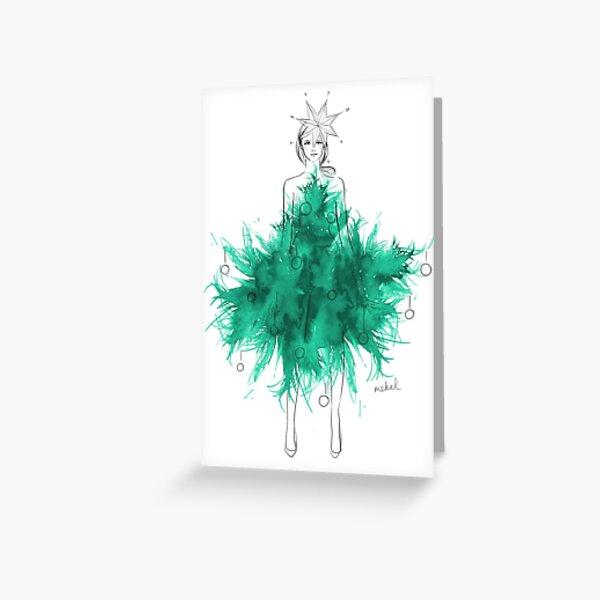 Christmas Tree Dress Greeting Card