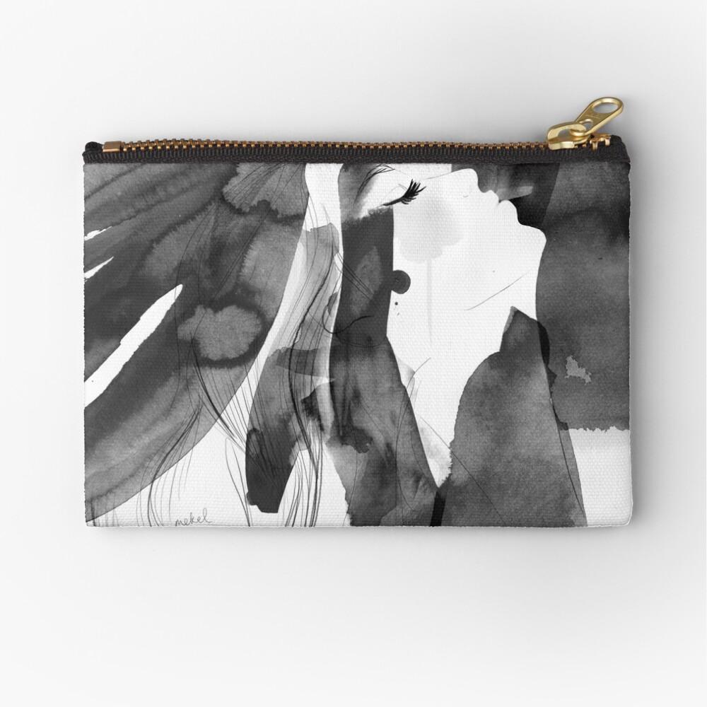 black and white bella Zipper Pouch