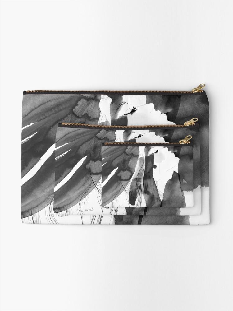 Alternate view of black and white bella Zipper Pouch
