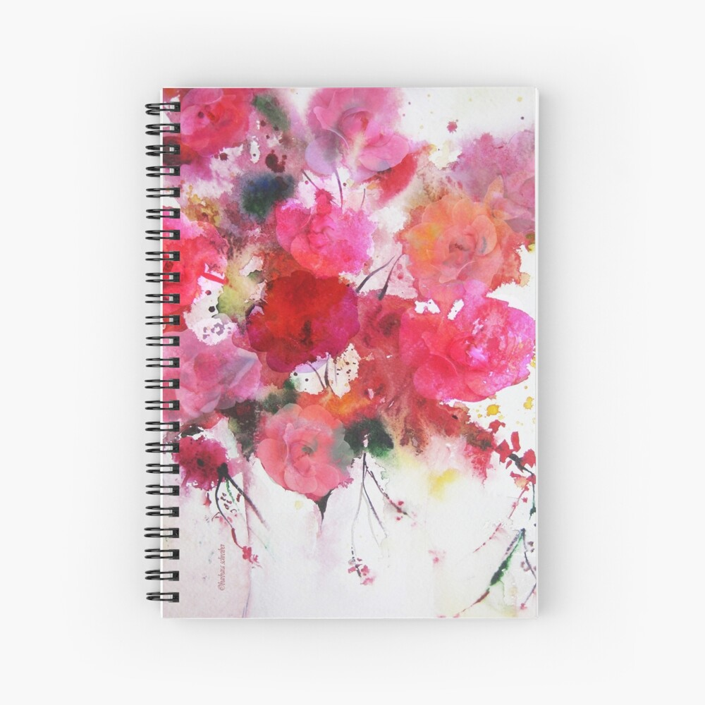 romantic pink roses Spiral Notebook