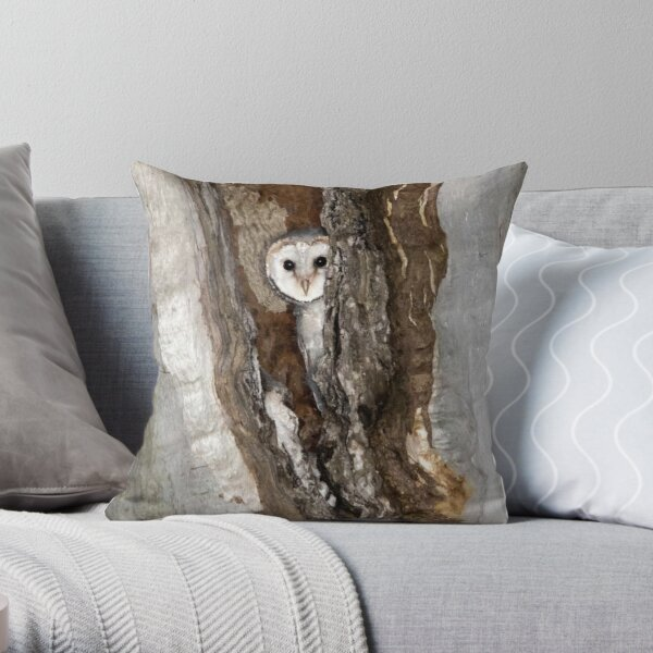 Barn Owl Peekaboo Throw Pillow