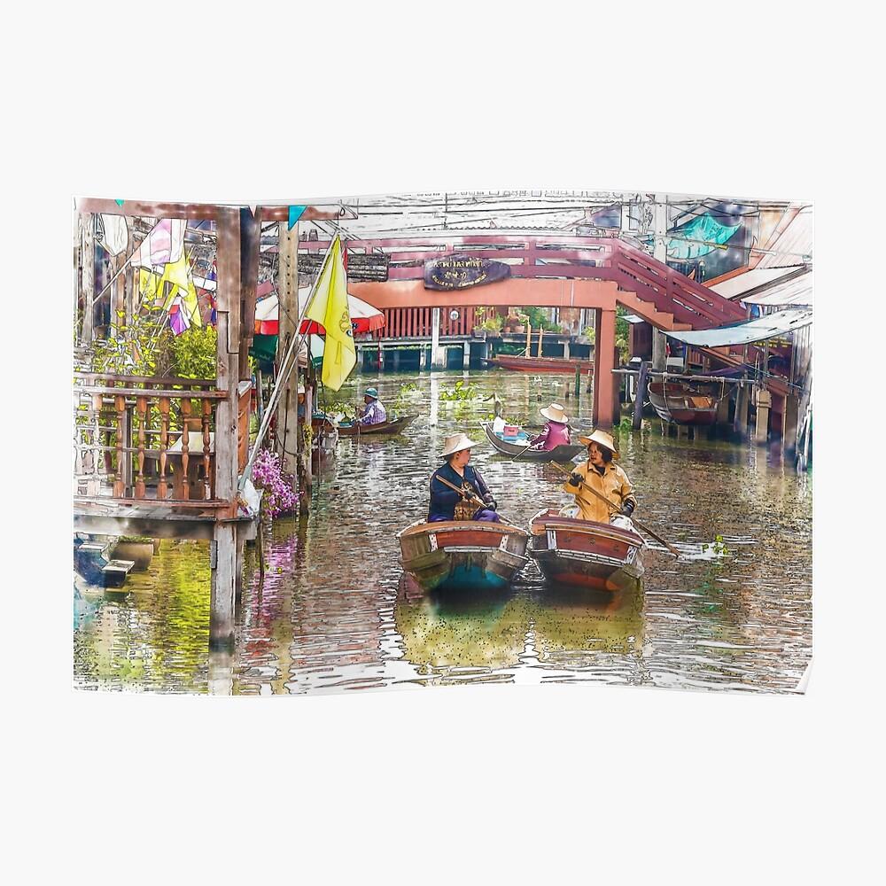 Verkäufer in Booten auf dem schwimmenden Markt Damnoen Saduak Poster
