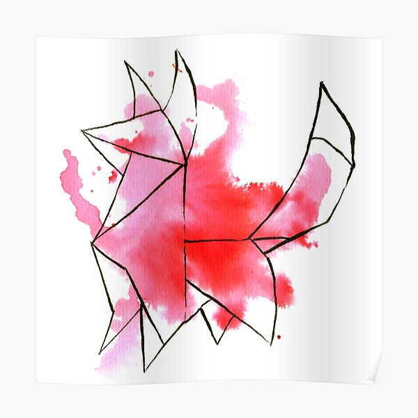 Origami Fox (pink) Poster
