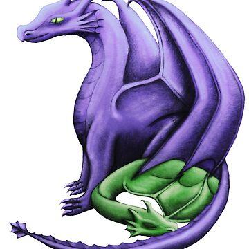 Purple / Green Dragon Family by shaneisadragon