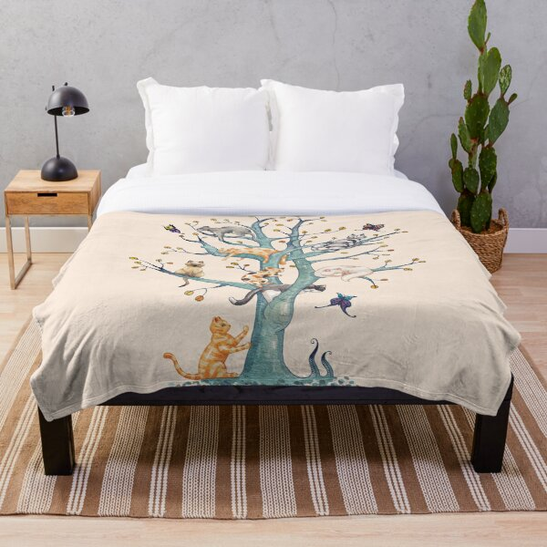 The tree of cat life Throw Blanket