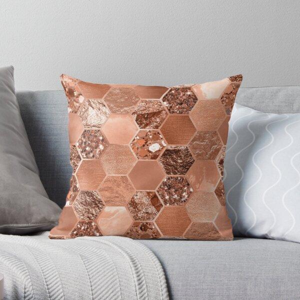 Rose gold hexaglam blonde Throw Pillow