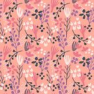 Peach pink sweet floral flower design by Kitty van den Heuvel