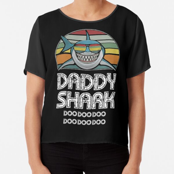 Daddy Shark Retro - For Dark Print Chiffon Top