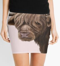 highland cattle portrait  Mini Skirt
